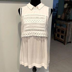 Free People White Eyelet Collared Dress